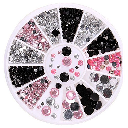 YUYOUG 3D Strass à Ongles Acrylique Nail Art Conseils Décoration Flat Back Glitter Strass Perles