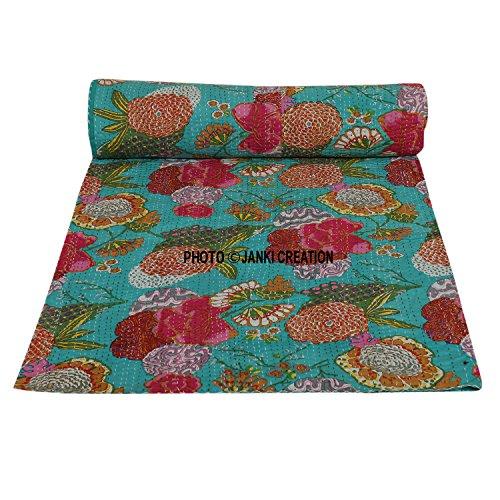 Indiano cotone kantha Quilt copriletto matrimoniale Dimensioni, hippie boho Bedding, Twin size...