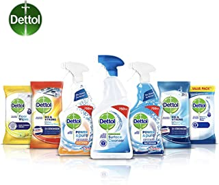 Dettol Cleaning Bundle - 3 Cleaning Sprays and 4 Packs of Antibacterial Wipes (Multi-Surface, Bathroom, Kitchen and Floor)