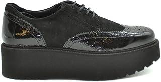 HOGAN Women's MCBI37689 Black Leather Lace-Up Shoes