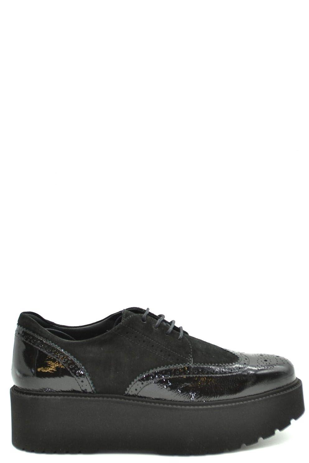 電池謝る包括的[HOGAN] レディース MCBI37689 ブラック 革 係靴ひも