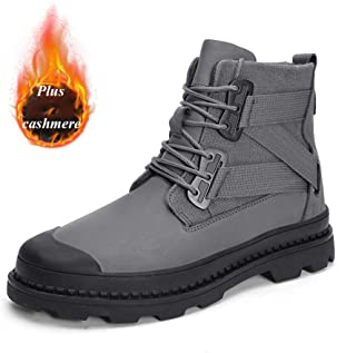 Winter Snow Mens Ankle Boots, Warm Ankle Fully PU Lace Up Comfy Lined Anti-Slip Boots Outdoor Casual High Top Work Sneakers Footwear