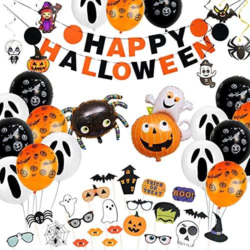 Decoración de Halloween, decoración para fiestas de Halloween, pancartas, globos de murciélagos, accesorios para fotos, juego de decoración para fiestas de Halloween, para la mesa y el jardín