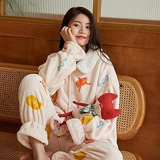 Pijama Mujer Invierno Conjunto De Pijamas De Franela Cálidos para Mujer Conjuntos De Pijamas De Manga Larga De Terciopelo Coral Grueso Camisón Traje De Mujer Ropa De Casa para Mujer
