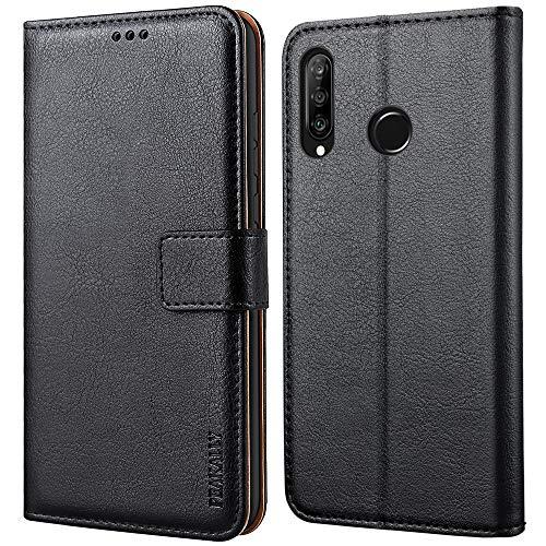 Peakally Hülle kompatibel mit Huawei P30 Lite/Huawei P30 Lite New Edition, Premium Leder Tasche Flip Wallet Hülle [Standfunktion] [Kartenfächern] Schutzhülle Handyhülle - Schwarz