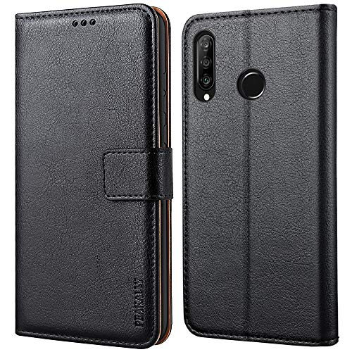 Peakally Cover per Huawei P30 Lite / P30 Lite New Edition, Flip Caso in PU Pelle Premium Portafoglio Custodia [Kickstand] [Slot per Schede] [Chiusura Magnetica]-Nero