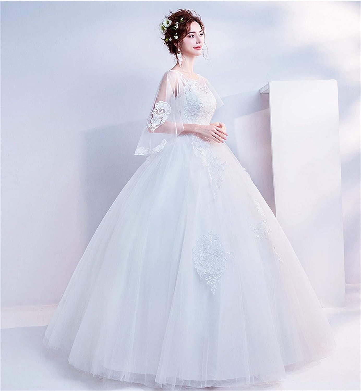 Bride Wedding Dress Women Skirt Lace Butterfly Sleeve Sweet Strapless Shoulder Skinny Princess