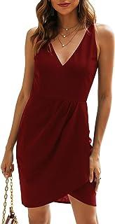 Manydress Women's Bodycon Sleeveless Deep V Neck Pencil Slim Cocktail Party Dresses MY062
