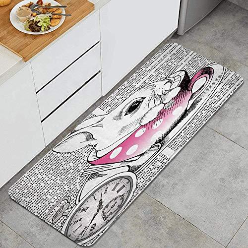 PANILUR Küchenfußmatten Küche Bodenmatte Komfort,Cartoon Kaninchen Hase in rosa Tasse Teller Löffel römische Ziffer Code Code Zeitung,rutschfeste Küche Teppiche Indoor Outdoor