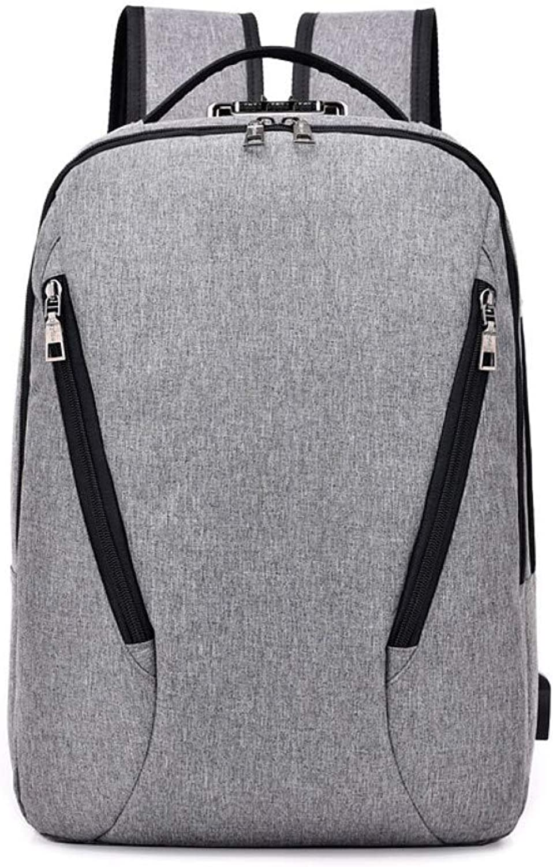 Laptop Backpack Business Computer Bag Men's Shoulder Bag Solid color Fashion Backpack Female Student AntiTheft Password Charging Bag
