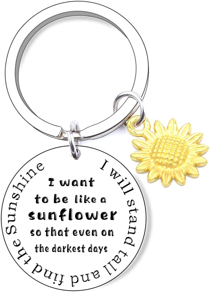 At Recommendation the price Sunflower Charm Keychain Inspirational Gift Spi Key Chain Floral