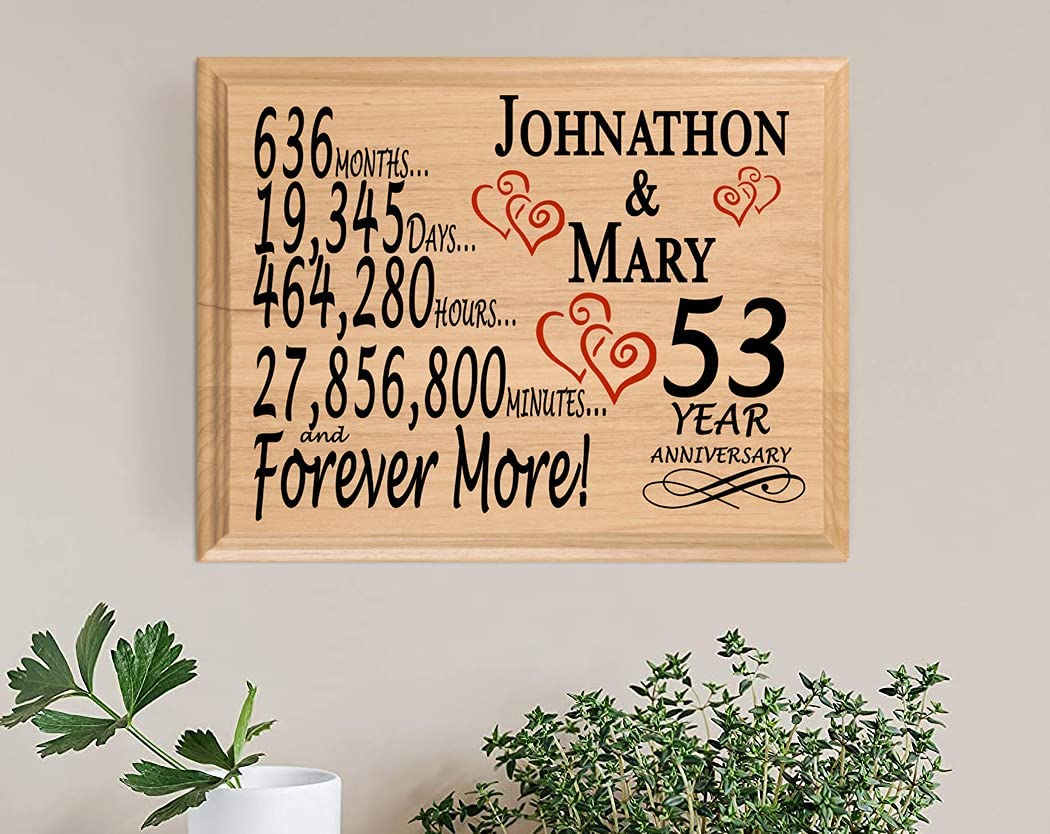 Broad Tampa Mall Bay 53 Year Many popular brands Anniversary Wedding Sign Personalized for 53rd