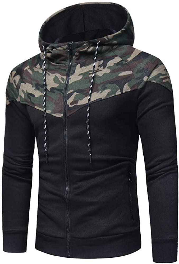 Mens Hoodies Zipper Slim Casual Long Sleeve Camo Patchwork Hooded Pullover- Camo Hooded Sweatshirts in Sizes M-3XL