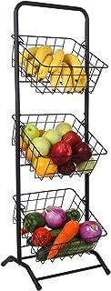 Mythinglogic 3-Tier Wire Metal Market Basket Stand, Fruit Basket, Vegetable Storage Bins, Produce Hanging Storage Bin for Kitchen, Bathroom Towel Basket Display Rack, Black Wire Basket Tower