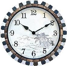Wall Clock ساعة الحائط 18 بوصة الإبداعية كتم كوارتز ساعة الثقافة الطبيعية والزينة قذيفة جوز الهند مناسبة جدا للداخلية أو ل...