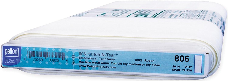 precio mas barato Pellon Pellon Pellon 20x 30Yd Stitch-n-Tear Tear Away Estabilizador de Bordado, Color blancoo  entrega gratis