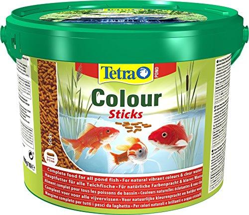 Tetra Pond Colour Sticks – Fischfutter für Teichfische, für natürliche Farbenpracht und klares Wasser, 10 L Eimer