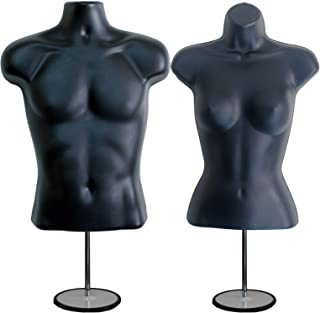 DisplayTown Mannequin Forms Male and Female Torso with Metal Stand and Hook, Waist Long, Black