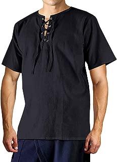 Mens Medieval Pirate Shirt Summer Viking Renaissance Lace up MercenaryScottish Ghillie Tops