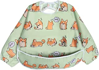 Long Sleeved Bib Waterproof Bibs for Babies and Toddlers with Pocket (Little Puppy)