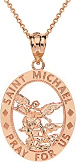 CaliRoseJewelry 14k Gold Saint Michael Pray for Us Oval Charm Pendant Necklace