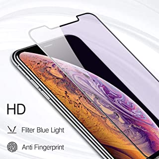 PERFECTSIGHT HD Clear Blue Light Filter Tempered Glass Screen Protector for iPhone 11 2019 6.1 inch, iPhone Xr 2018 - Anti Fingerprint, 2 Stronger, Alignment Frame Easy Installation (1 Pack)