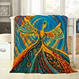 Mugod Throw Blanket Traditional Colorful Sufi and African Dance Illustration Painting Artwork Decorative Soft Warm Cozy Flannel Plush Throws Blankets for Bedding Sofa Couch 40 X 50 Inch
