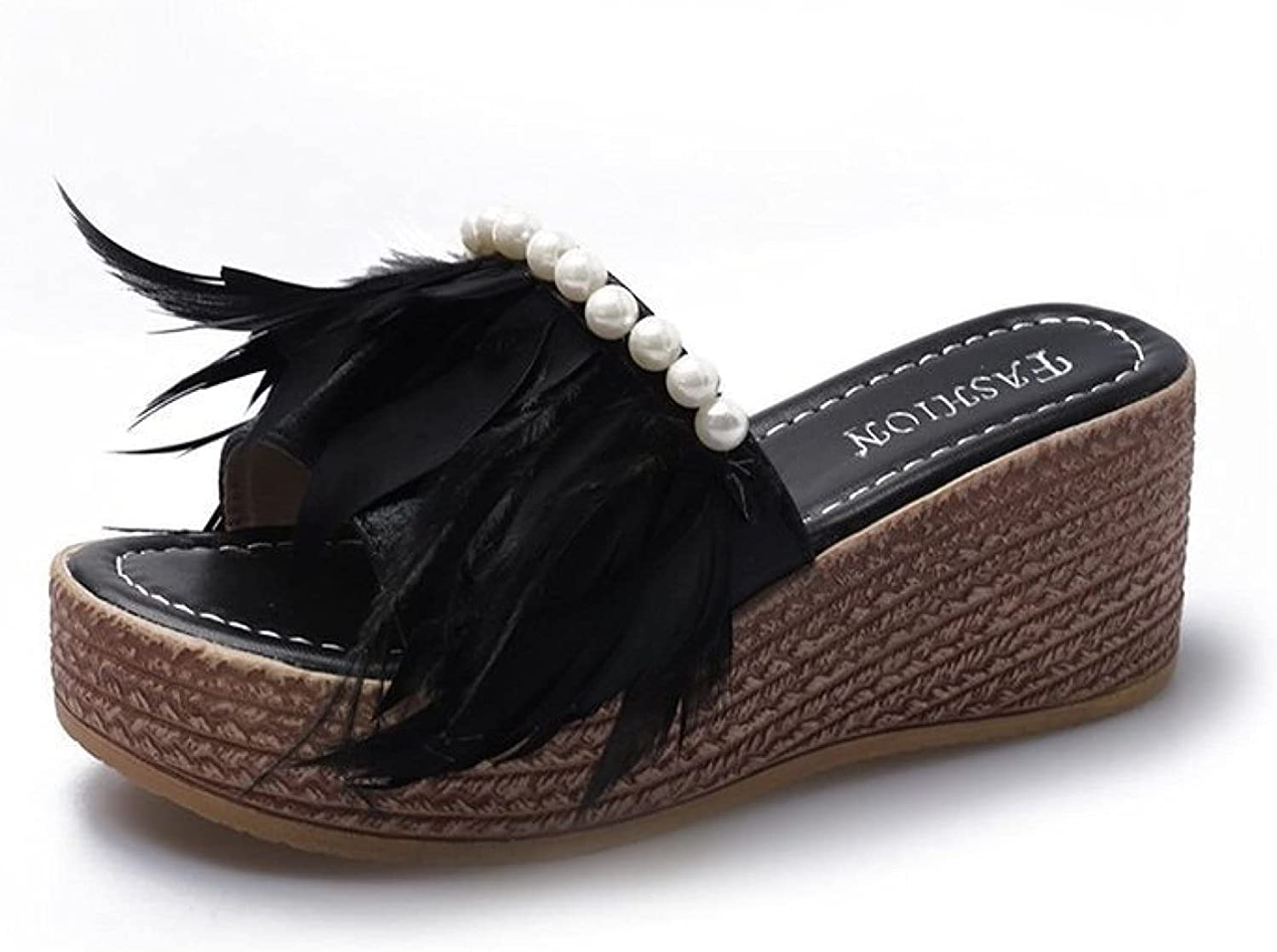 Espadrilles Open Free shipping on posting reviews Toe Wedge Slides Casual for Slipper Women's Genuine Free Shipping Pea