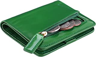 Itslife Women's Rfid Blocking Small Compact Bifold Leather Pocket Wallet Ladies Mini Purse with id Window,Waxed Green