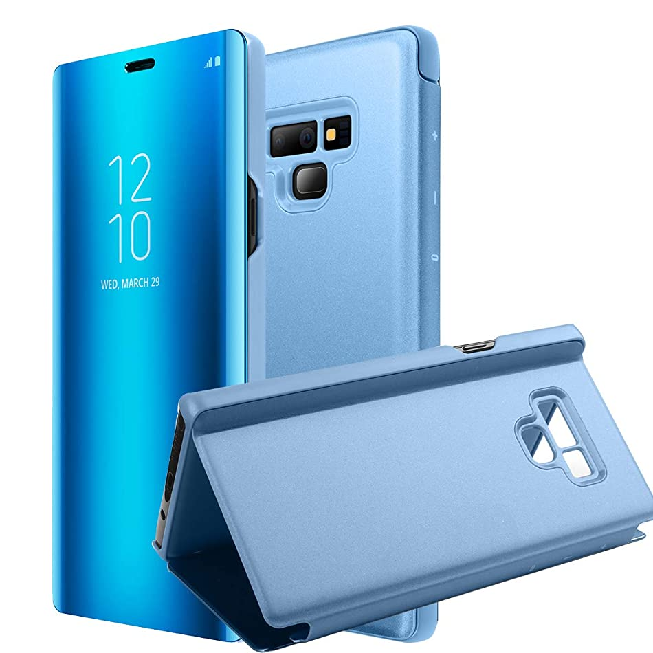 AICase Galaxy Note 9 Case, Luxury Translucent View Window Front Cover Mirror Screen Flip Smart Electroplate Plating Stand 360 Full Body Protective Case for Samsung Galaxy Note 9 (Ocean Blue) x8355500455