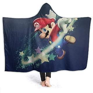 Super Mario Hooded Blanket Fleece Throw Blanket 3D Print Wearable Hooded Blanket for Adult and Kids