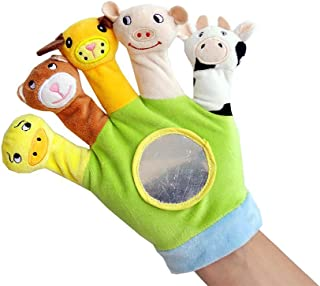 Mumoo Bear Hand Finger Plush Puppets Glove, Animal Finger Puppet for Children Early Education Toys for New Born Baby(Green)