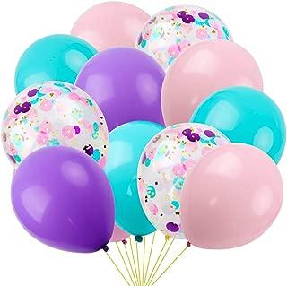 RUBFAC 60pcs Unicorn Mermaid Latex Balloons, 12 Inch Unicorn Confetti Balloons, Light Pink Blue Purple Assorted Balloons for Unicorn Mermaid Parties, Unicorn Balloons Birthday, 2 Rolls of Ribbon