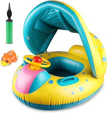 Philonext Baby Float Boat ,Baby Swimming Float,Inflatable Baby Float with Canopy Beach Pool Water Toys, Suit for Toddler Chil