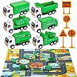 HERSITY 6 Piezas Camion Basura de Juguete Coches Pequeños Metalicos Juguete con Tapete de Juego y Señales de Tráfico Regalos para Niños 3 4 5 Años