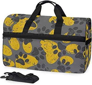 MONTOJ Katzen- oder Hundepfotenabdrücke, grau-gelbes Muster, Übergroße Reisetasche aus Segeltuch, Reisetasche