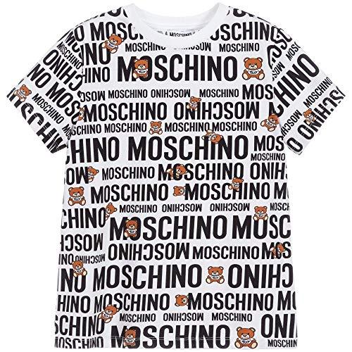 Moschino T-Shirt Bambino Logo all Over Bianco Nero H8M01I LBB3584911 Taglie da 4 a 8 Anni 6 A