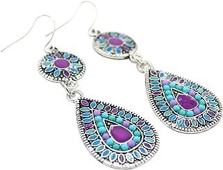 Water Drop Pattern Tassels Ethnic Style Dangle Stud Earrings Unique Gift for Women Girls