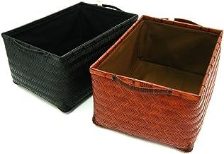 【COTAN】 竹 収納籠 (かご) 内布付き/黒