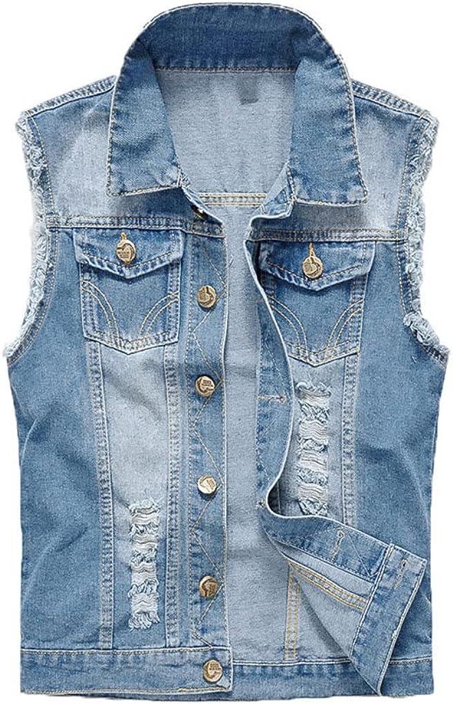 Men Denim Vest Men's Jacket Sleeveless Casual Waistcoat Men Spring Jean Coat Ripped Slim Fit Male Jacket Cowboy