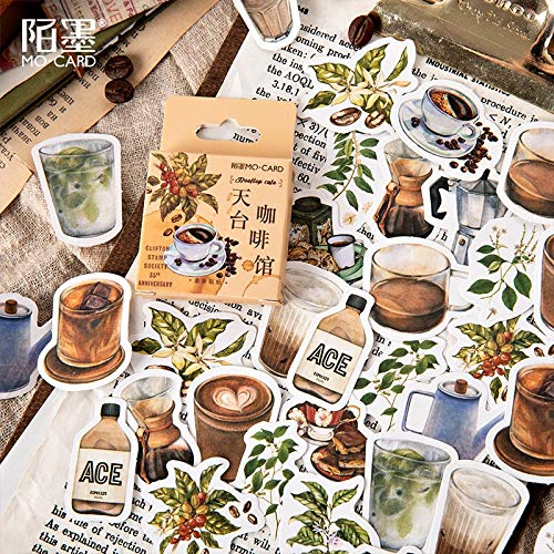 BLOUR Rooftop Cafe Paper Klein dagboek Mini schattige doos stickers set Scrapbooking Kawaii Flakes Journal Stationery46 stuks per verpakking