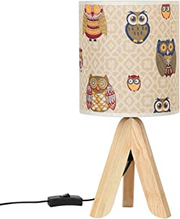 HAITRAL Tripod Table Lamp - Minimalist Nightstand Lamp for Bedroom, Small Wooden Bedside Table Lamp with Fabric Shade for Girls Room, Bedroom, Guest Room, Office - 15.4 Inches (HT-BTL21-MTY)