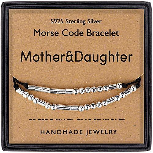 DTWAWA Código Morse Pulsera de Cuentas Ajustables Plata de Ley 925 Regalo de Madre de Hija Regalo de Joyería para el día de la Madre