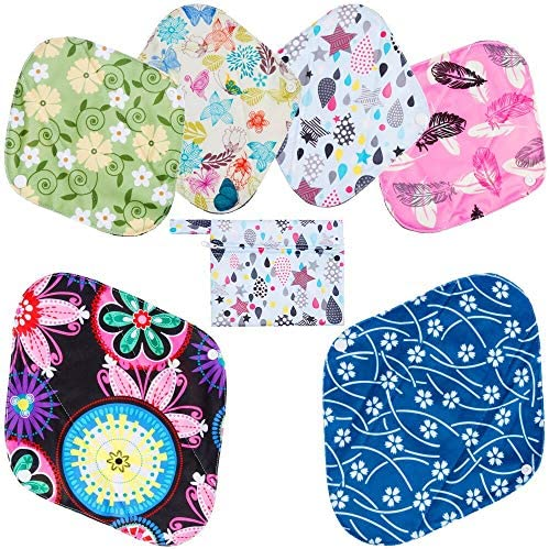 Rovtop Reusable Sanitary Towels Pads(7 in 1, 25.4cm), Panty Liners with Wet Bag,Heavy Flow Night Washable Cloth Menstrual Sanitary Towels