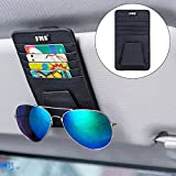 FMS Car Sun Visor Organizer Holder Multi-Function Glasses and Card Clip Genuine Leather Holder Universal Car Auto Card Clip Storage Pouch Bag (Black)