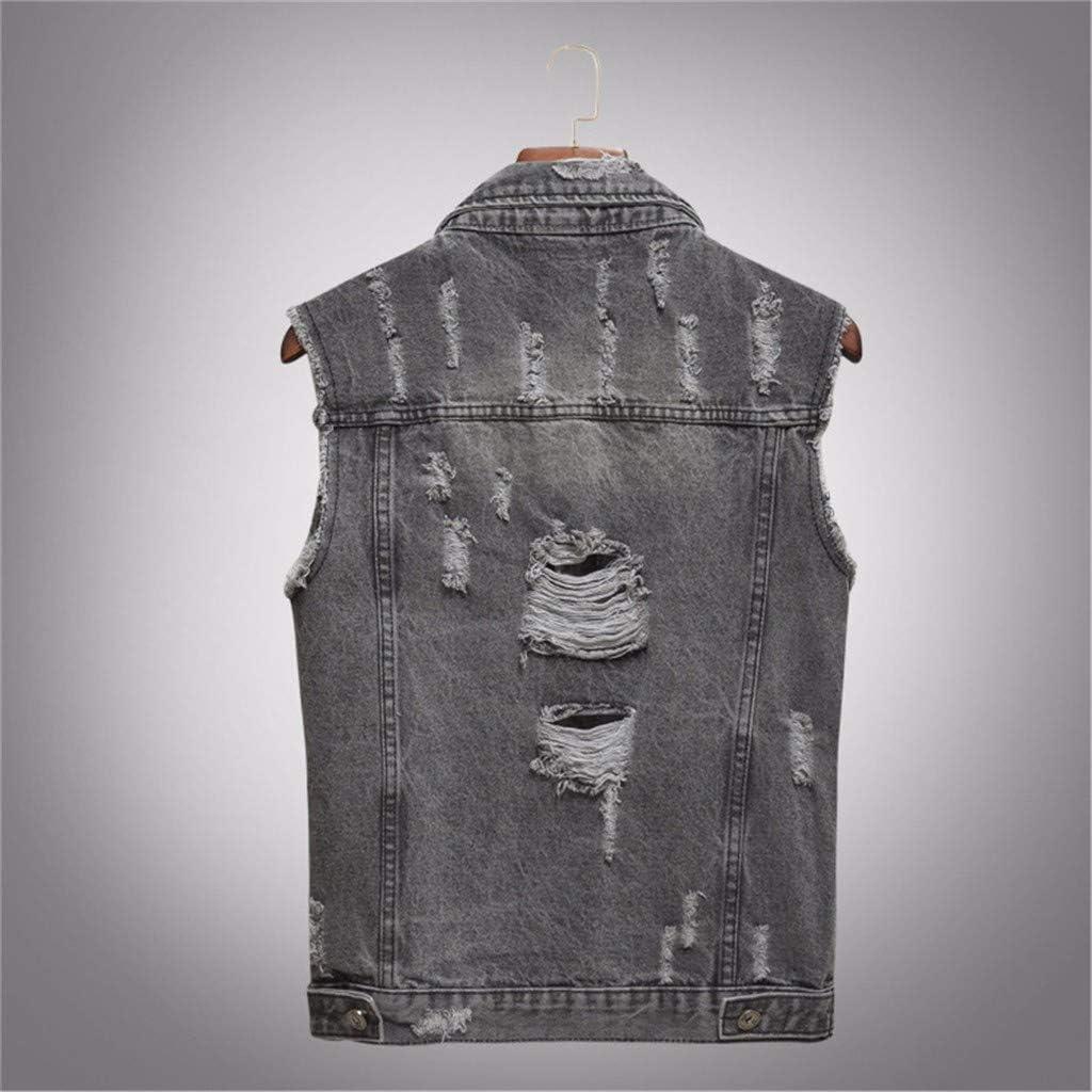 NREALY Chaqueta Vaquera Mens Denim Vest Casual Cowboy Jacket in Shoulder Blouse