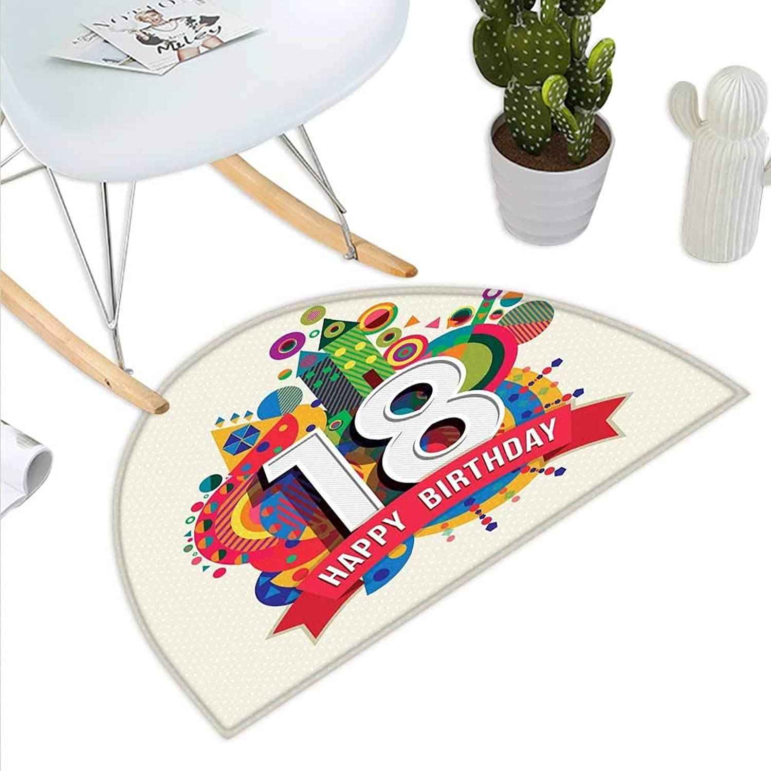 18th Birthday Semicircle Doormat colorful Geometric Stipes Dots Shapes Backdrop with Happy Birthday Quote Halfmoon doormats H 35.4  xD 53.1  Multicolor