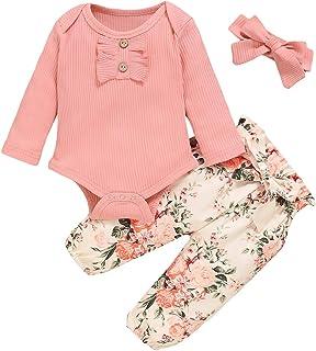 WeoTca Bébé Filles Ensemble de Vêtements à Fleurs Barboteuse Côtelée à Volants Onesie+Pantalon+Bandeau Cadeau pour Nouveau-Né