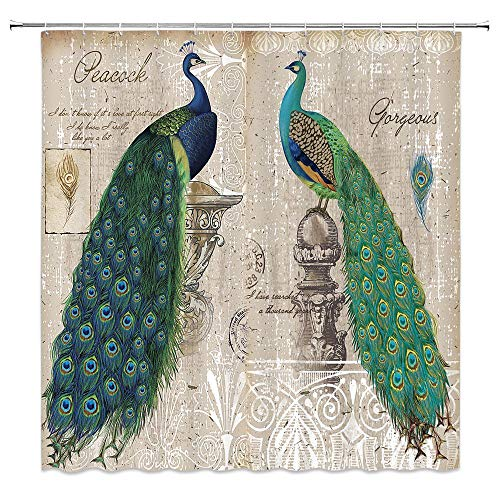 MNSC Peacock Shower Curtain Classical Decorative Beautiful Vintage Painted Feathers Bathroom Home Decorative Quick Drying with Hooks,Blue Green Brown…