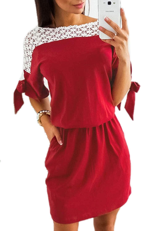 FAFOFA Women Lace Crochet Boat Neck Elastic Waist Casual Pencil Dress Pocket